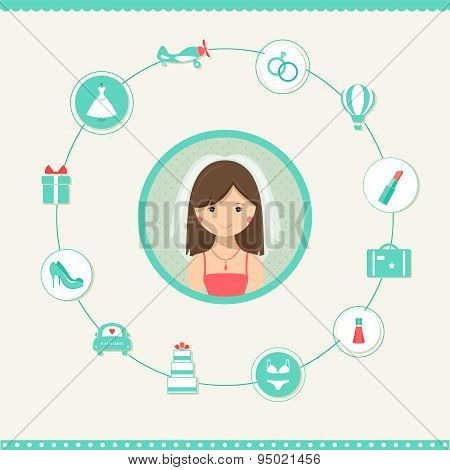 Bride-to-be Surrounded by Wedding Icons. Wedding Planic Infographics Illustration