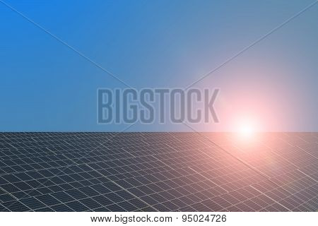 Solar Panel With Highlight And Unflawed Sky