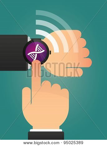 Hand Pointing A Smart Watch With A Dna Sign