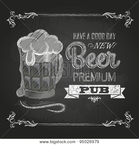 Beer In Mag. Chalk Drawing
