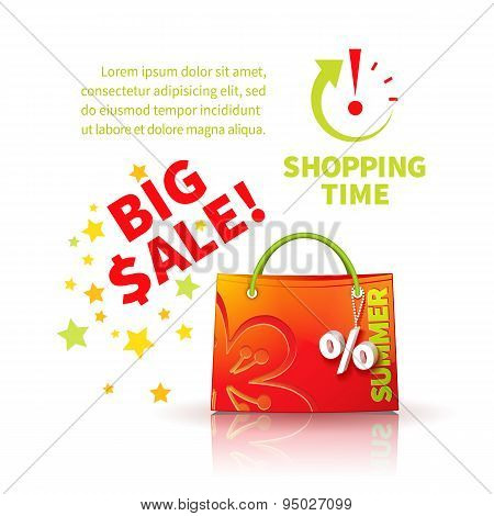 Bright red shopping bag