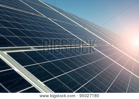 Solar Panel With Highlight And Clear Sky