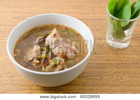 Bowl Of Thai Spicy Beef Entrails Soup