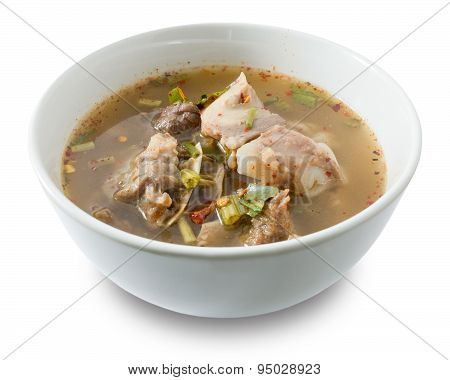 Thai Spicy Beef Entrails Soup On White Background