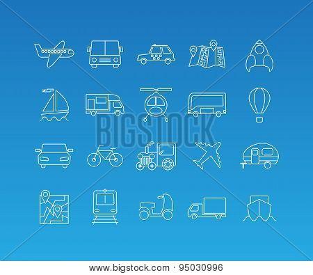 Transport mono line icon set