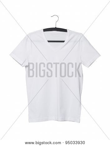 Close Up Of A V Shape White T-shirt On Cloth Hanger. Isolated.