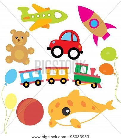 Set of vector child and kids toys