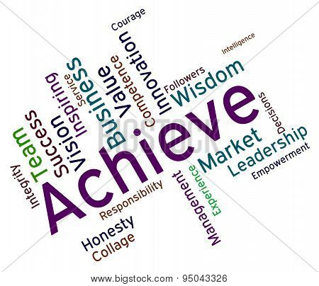 Achieve Words Represents Successful Resolution And Victory