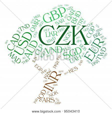 Czk Currency Represents Czech Koruna And Exchange
