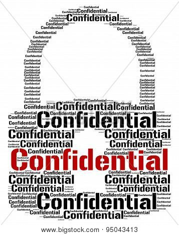 Confidential Lock Means Text Secret And Private