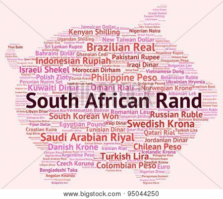 South African Rand Indicates Currency Exchange And Coinage