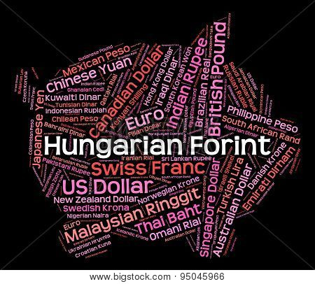 Hungarian Forint Shows Worldwide Trading And Banknotes