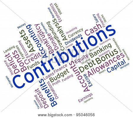 Contributions Word Represents Contribute Contributes And Donating