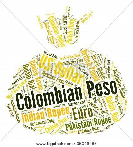 Colombian Peso Indicates Currency Exchange And Currencies