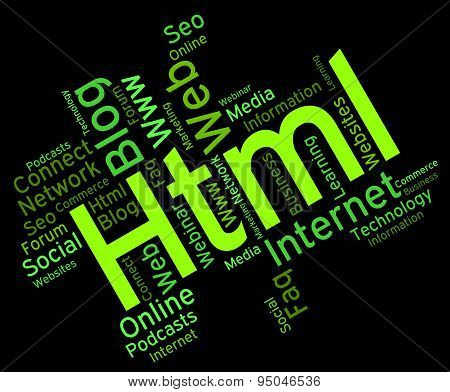 Html Word Represents World Wide Web And Words