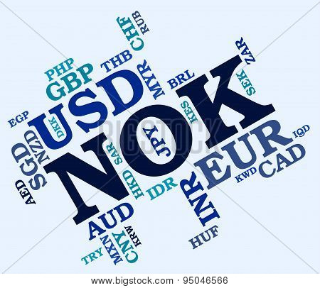 Nok Currency Indicates Norway Krone And Currencies