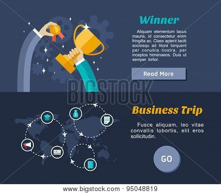 Flat Design Concept For Web Banners And Promotional Materials. Winner, Business Trip