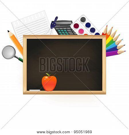 Black Chalkboard With School Supplies.
