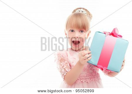 Positive girl holding present box