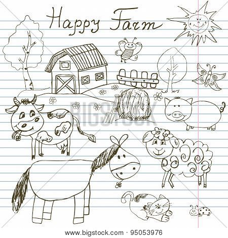 Happy Farm Doodles Icons Set. Hand Drawn Sketch With Horse, Cow, Sheep Pig And Barn. Childlike Carto