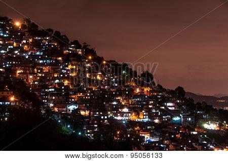 Rio de Janeiro Slums at Night