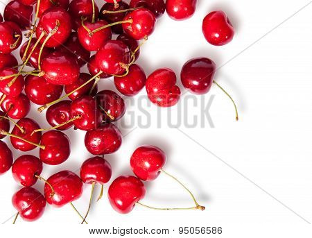 Pours Pile Of Juicy Sweet Cherries