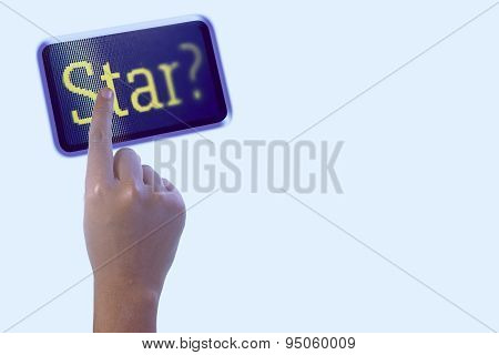 Person Pointing The Word Star