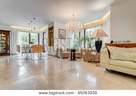 Tiled Floor In Exclusive Interior