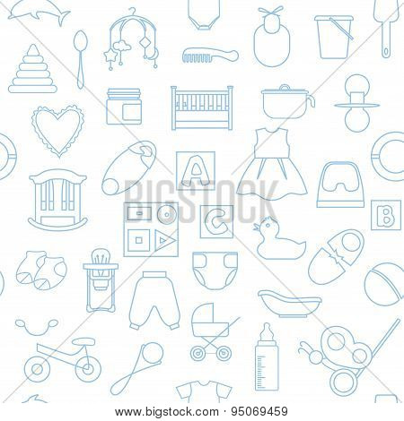 Seamless Linear Pattern With Baby's Items.