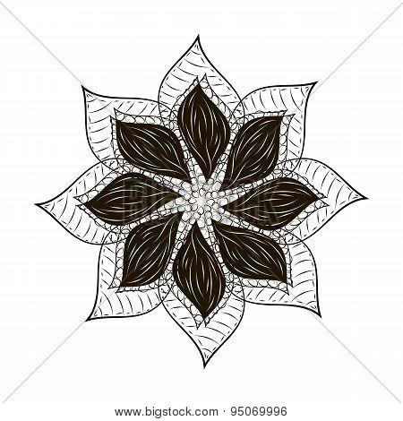 Abstract flower tard black mandala