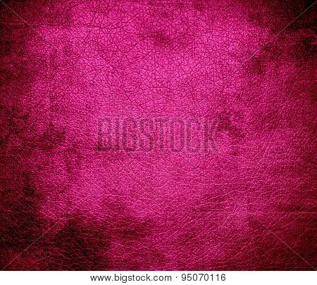 Grunge background of hot pink leather texture