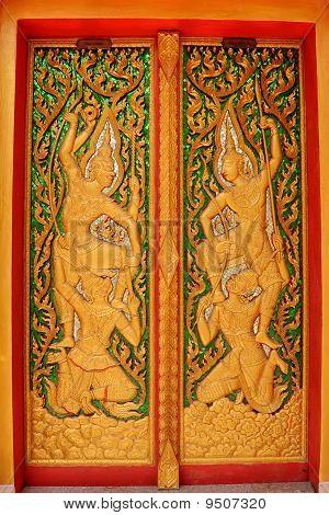 Thai Buddhist Temple Door