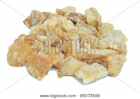 Pork Rind Favorite Food In Thailand Isolated On White Background