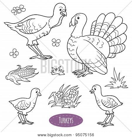 Set Of Cute Farm Animals And Objects, Vector Family Turkeys