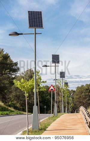 Solar powered street lamps
