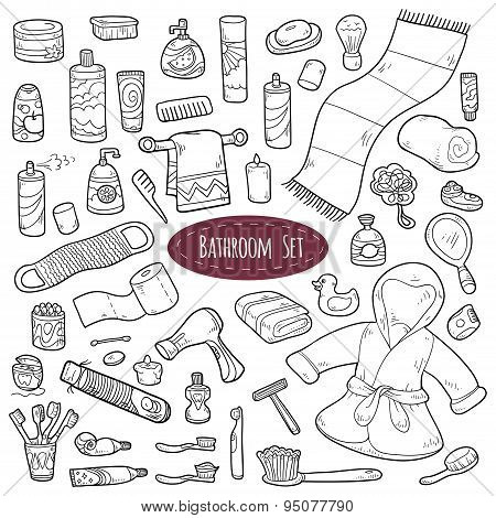 Set of vector colorless cartoon bathroom elements and personal hygiene items poster
