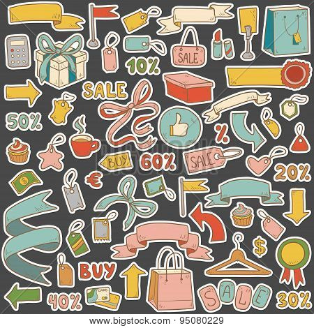 Vector Set Of Shopping Items, Colorful Cartoon Collection