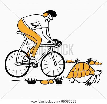 new Achilles overtakes the tortoise on a bicycle vector illustration