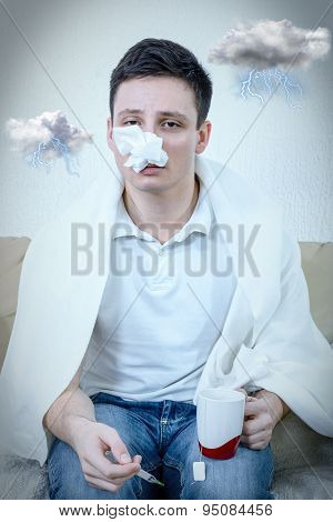 Young Adult Man Suffering Pollen Allergy