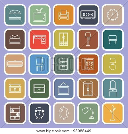 Bedroom Line Flat Icons On Violet Background