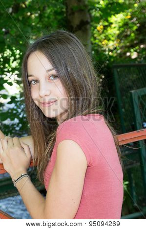 Very Pretty Young Girl, Brunette, Happy Teenager