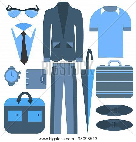 Men's business clothing isolated and accessories umbrella, suits, shirts