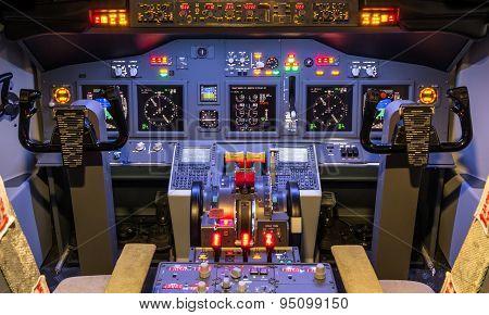 Cockpit Of An Homemade Flight Simulator - Aviation Industry Concept