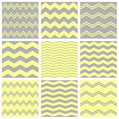 Tile chevron vector pattern set with grey and yellow zig zag background for seamless decoration wallpaper poster
