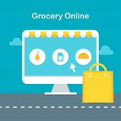 Computer screen with online grocery store website and shopping bag poster