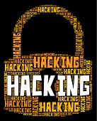 Hacking Lock Showing Malware Wordcloud And Spyware poster