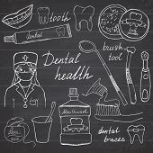 Dental health doodles icons set. Hand drawn sketch with teeth toothpaste toothbrush dentist mouth wash and floss. vector illustration on chalkboard background. poster