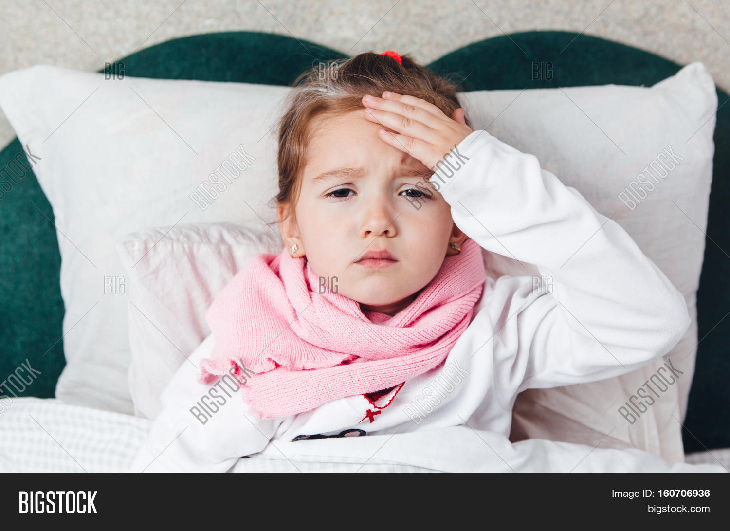 Sick kid lying bed image photo free trial bigstock sick kid lying in the bed and touch her forehaed altavistaventures Gallery