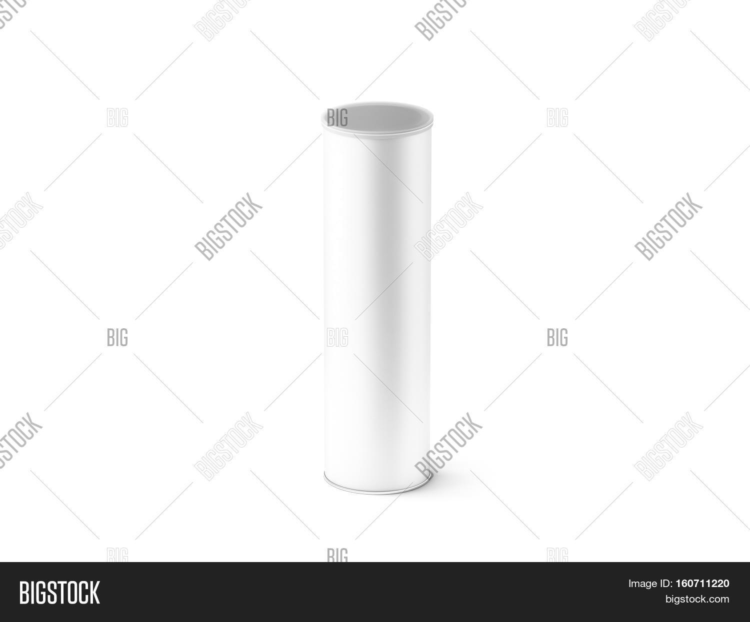 Blank white carton cylinder box image photo bigstock for Cylinder packaging template