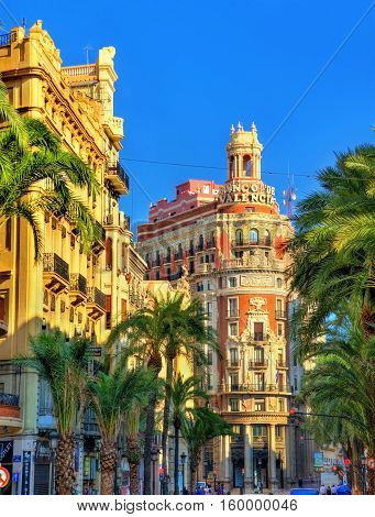 Valencia, Spain - October 29, 2016: The Bank of Valencia, a historic building built in 1942